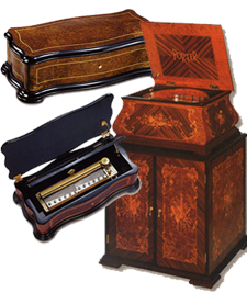 Music Boxes from around the world high end to affordable all kinds and prices from www.lori.fm
