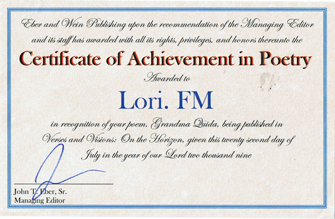 Lori's poetry contest certificate